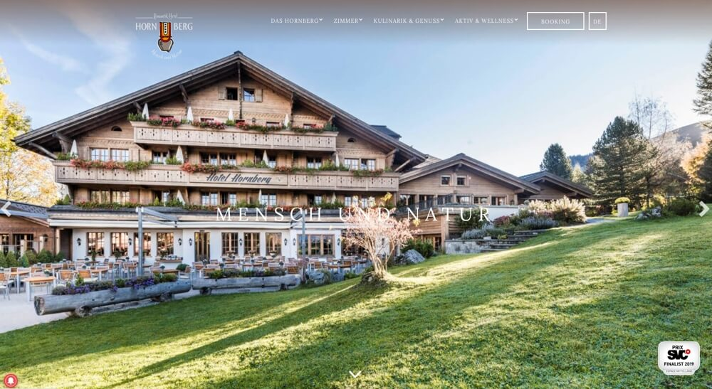 Screenshot Homepage Romantik Hotel Hornberg INCONET Media
